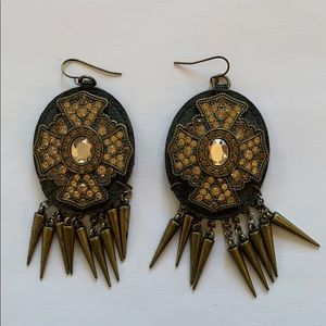 Leather and rhinestone statement earrings